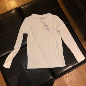 Zara kids ribbed sweater with pearls